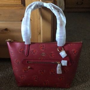 COACH TAYLOR FLORAL PRINT LEATHER TOTE RED APPLE